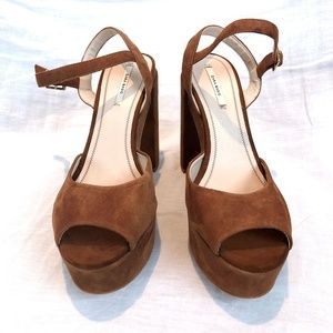 Zara Basic Brown Suede Block Heels